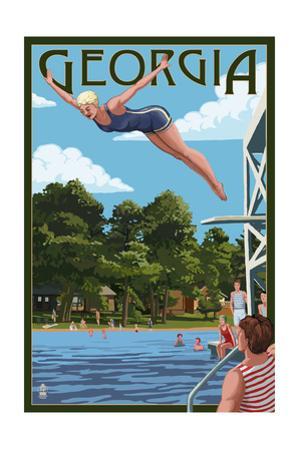 Georgia - Woman Diving and Lake by Lantern Press