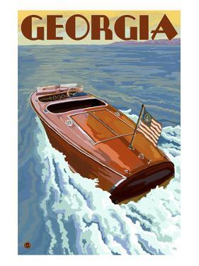 Georgia - Wooden Boat on Lake by Lantern Press