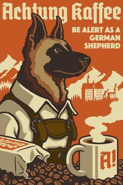 German Shepherd - Retro Coffee Ad by Lantern Press