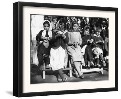 Girls Knitting in Albania Photograph - Albania by Lantern Press