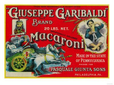 Giuseppe Garibaldi Macaroni Label - Philadelphia, PA by Lantern Press
