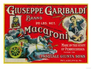 Giuseppe Garibaldi Macaroni Label - Philadelphia, PA by Lantern Press