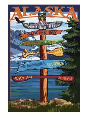 Glacier Bay, Alaska - Sign Destinations by Lantern Press