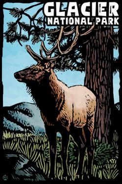 Glacier National Park - Elk - Scratchboard by Lantern Press
