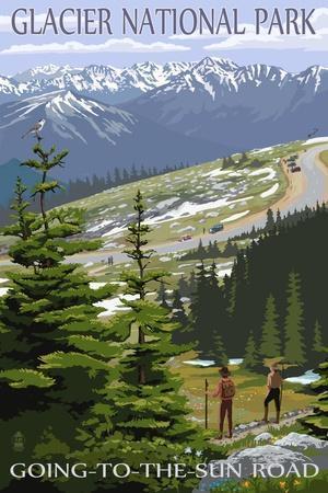 """Logan Pass Glacier National Park Vintage Travel Photo Fridge Magnet 2/""""x3/"""""""