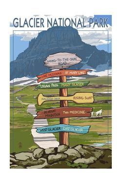 Glacier National Park - Going-To-The-Sun Road Mountain Signpost by Lantern Press