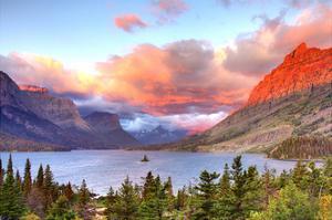Glacier National Park, Montana - St. Mary Lake and Sunset by Lantern Press