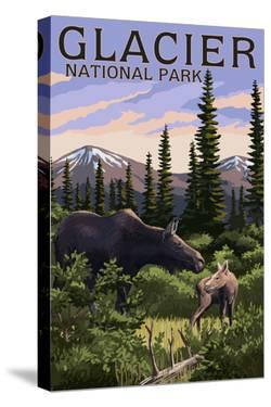 Glacier National Park - Moose and Baby Calf by Lantern Press