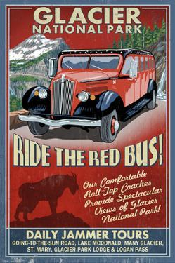 Glacier National Park - Red Jammer by Lantern Press