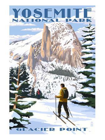 Glacier Point and Half Dome - Yosemite National Park, California by Lantern Press