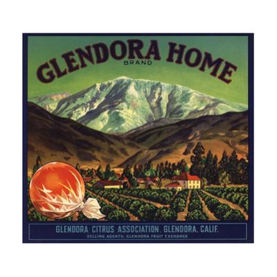 Glendora Home Brand - Glendora, California - Citrus Crate Label by Lantern Press