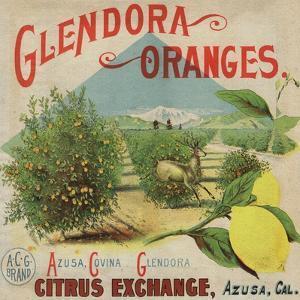 Glendora Oranges Brand - Azusa, California - Citrus Crate Label by Lantern Press