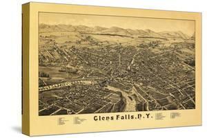 Glens Falls, New York - Panoramic Map by Lantern Press
