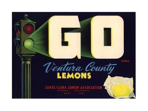 Go Brand - Oxnard, California - Citrus Crate Label by Lantern Press