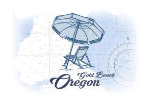 Gold Beach, Oregon - Beach Chair and Umbrella - Blue - Coastal Icon by Lantern Press