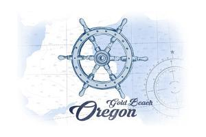 Gold Beach, Oregon - Ship Wheel - Blue - Coastal Icon by Lantern Press