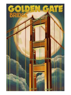 Golden Gate Bridge and Moon - San Francisco, CA by Lantern Press