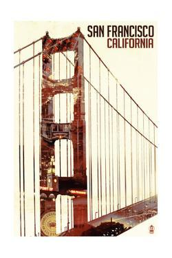 Golden Gate Bridge Double Exposure - San Francisco, CA by Lantern Press