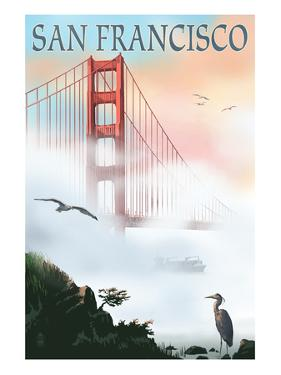 Golden Gate Bridge in Fog - San Francisco, California by Lantern Press