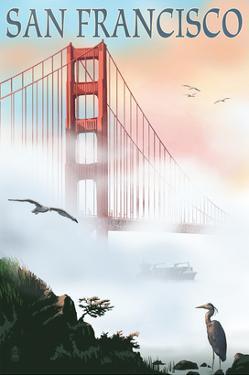 Golden Gate Bridge in Fog - San Francisco, California by Lantern Press