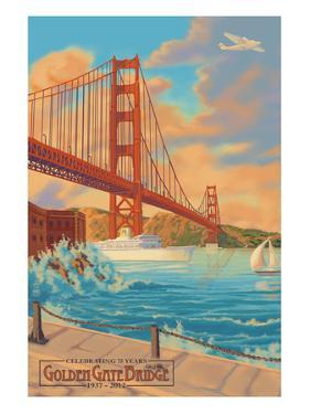 Golden Gate Bridge Sunset - 75th Anniversary - San Francisco, CA by Lantern Press