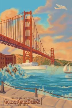 Golden Gate Bridge Sunset - 75th Anniversary - San Francisco, CA by Lantern Press