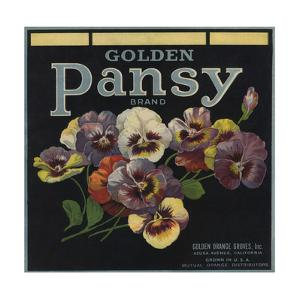 Golden Pansy Brand - Azusa, California - Citrus Crate Label by Lantern Press