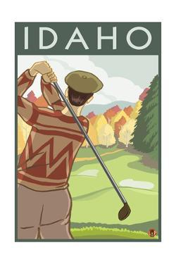 Golfer Scene - Idaho by Lantern Press
