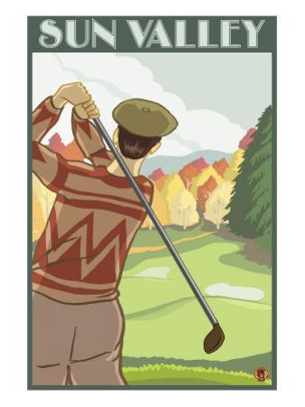 Golfer Scene, Sun Valley, Idaho by Lantern Press
