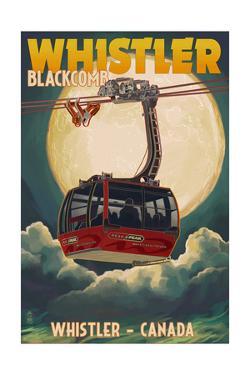 Gondola and Full Moon - Whistler, Canada by Lantern Press