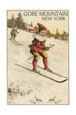 Gore Mountain, New York - Santa Skiing by Lantern Press