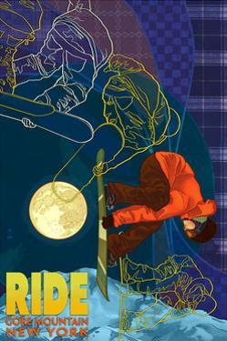 Gore Mountain, New York - Timelapse Snowboarder by Lantern Press