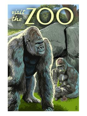 Gorillas in Forest - Visit the Zoo by Lantern Press