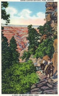 Grand Canyon Nat'l Park, Arizona - Men on Burros on the Bright Angel Trail by Lantern Press