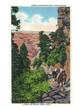 Grand Canyon Nat'l Park, Arizona - Men on Burros on the Bright Angel Trail by Lantern Press