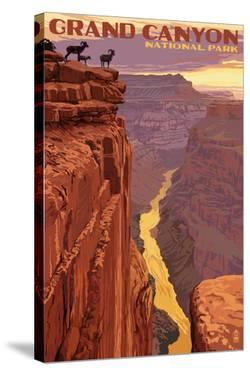 Grand Canyon National Park - Bighorn Sheep on Point by Lantern Press