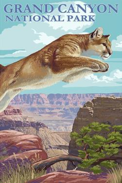 Grand Canyon National Park - Cougar Jumping by Lantern Press