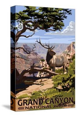 Grand Canyon National Park - Elk and South Rim by Lantern Press