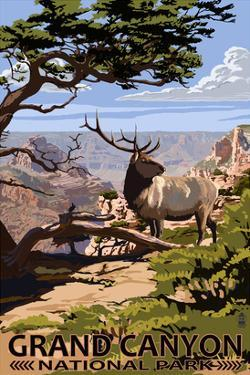 Grand Canyon National Park - Elk and South Rim by Lantern Press