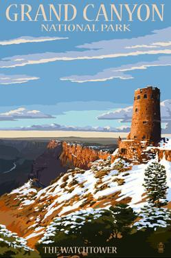 Grand Canyon National Park - Watchtower and Snow by Lantern Press