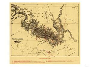Grand Canyon of Colorado River - Panoramic Map by Lantern Press