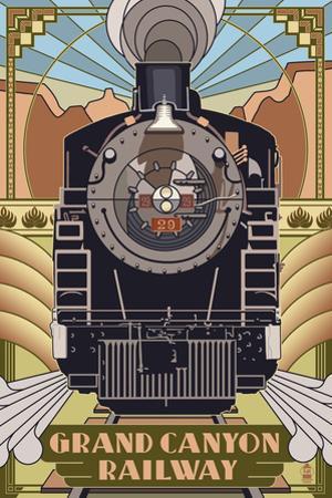 Grand Canyon Railway, Arizona - Deco Design by Lantern Press