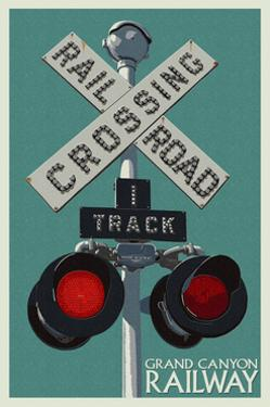 Grand Canyon Railway, Arizona - Railroad Crossing by Lantern Press
