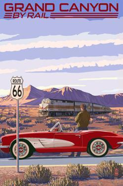 Grand Canyon Railway, Arizona - Route 66 - Corvette with Red Rocks by Lantern Press