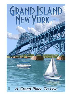 Grand Island, New York - Bridge Scene by Lantern Press