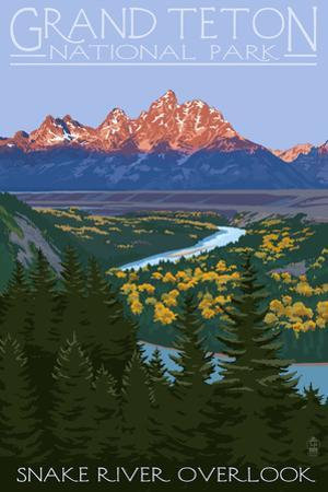 Grand Teton National Park - Snake River Overlook by Lantern Press