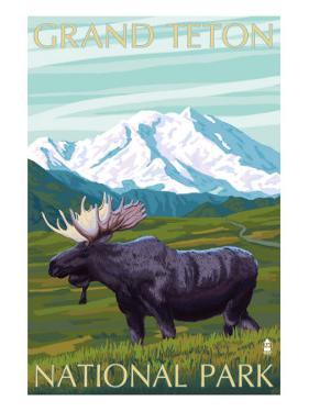 Grand Teton National Park, Wyoming, Moose and Mountains by Lantern Press