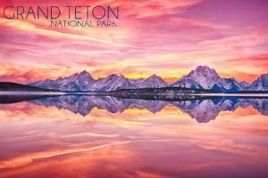 Grand Teton National Park, Wyoming - Sunset and Jackson Lake by Lantern Press