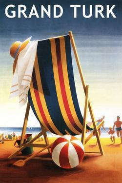 Grand Turk - Beach Chair and Ball by Lantern Press
