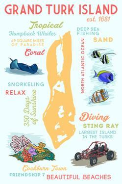 Grand Turk Island - Typography and Icons by Lantern Press